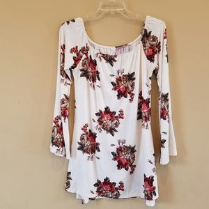 Peppermint/floral bell sleeve tunic top